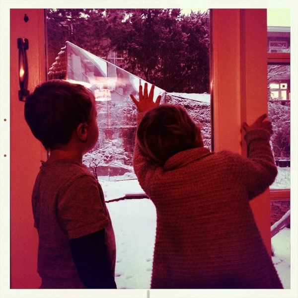 Fletcher and Sarah checking out the snow