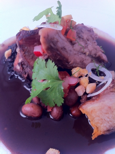"Merida tasting menu: suckling pig ""frijol con puerco"" w belly, chicharrón, cranberry beans, xnipec"