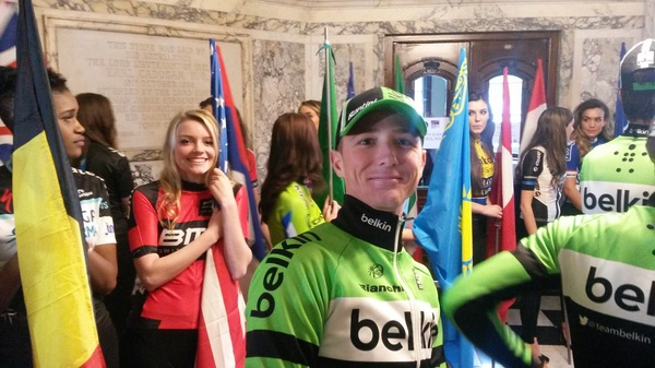Good company for @davidjtanner just before @teambelkin is up on the #giro presentation.