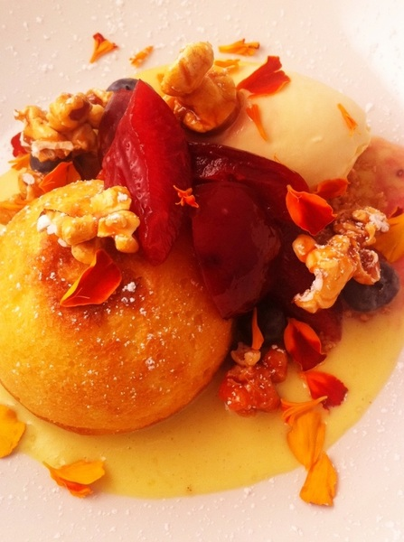 New Frontera Menu hilites: buttery sweet corn cake, poached Seedling Farm plums, honey-Xtabentun ice cream