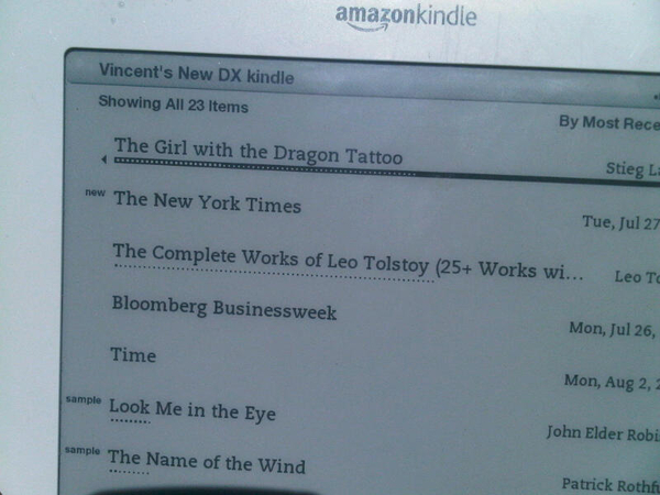 "Nieuwe kindle dx en 'the girl with the dragon tattoo"" + sun/sea. I love vacation in natucket"