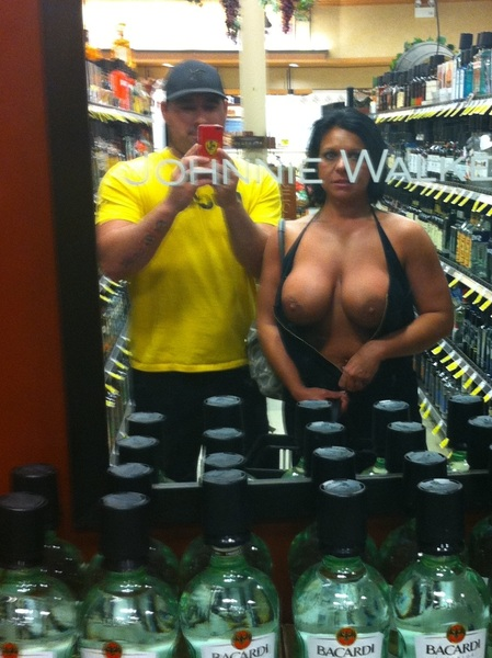 Finally a pic with my hubby. Even though it's through a mirror with words on it. Lol