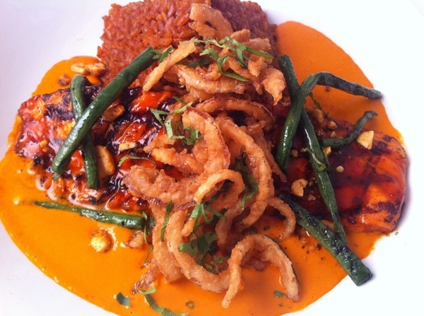 New Frontera Menu hilites: chipotle-glazed AK salmon, peanut-red chile salsa, grilled gr beans, crispy onions.