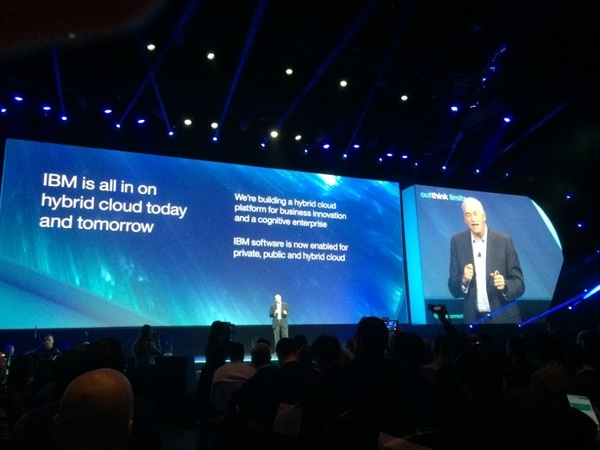 .@IBMcloud VP LeBlanc talks hybrid #cloud, @twitter, cognitive learning, sports fan crowd sourcing. #ibminterconnect