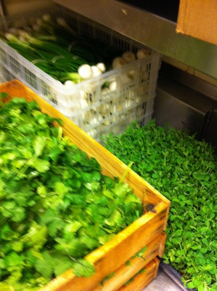 While snow is falling, days r short, sky is gray: nice to have green in the kitchen. Peashoots from local farmer