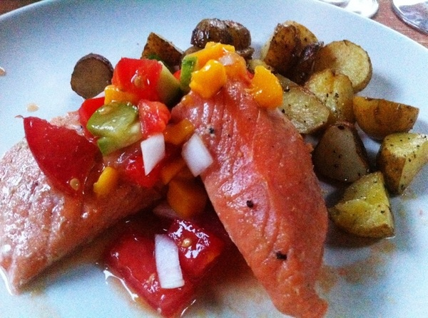 Lanie's anniversary party main course: grilled Alaska king salmon w mango salsa w rstd new-dug potatoes