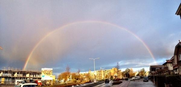 Volledige regenboog over Rijnsburg heen! Om 9.18 uur #buienradar