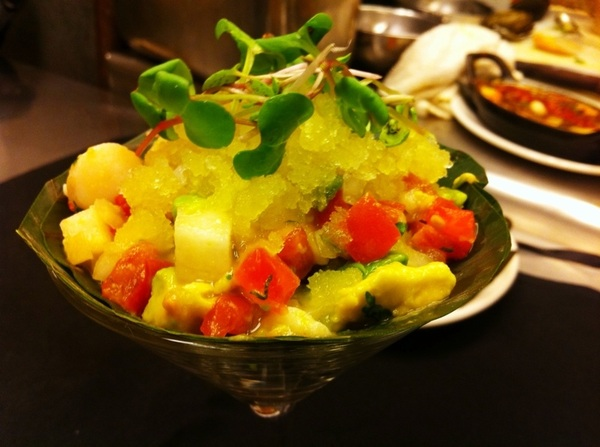 Poss new Frontera dish: Baja bay scallop ceviche (lime, tomato, avocado, serrano), sour orange raspado (granita)