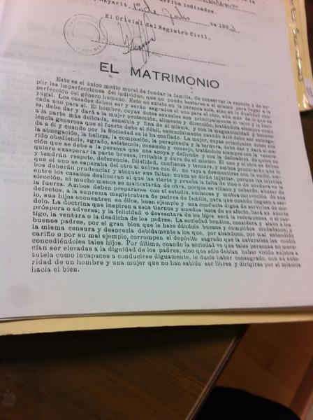 """El matrimonio """"La epístola de Melchor Ocampo"""" como parte fundamental de un acta de matrimonio."""