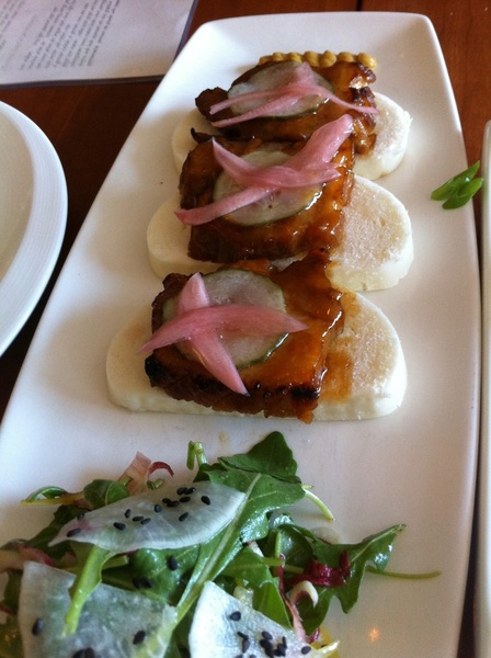 Another delicious noodle lunch at Takashi; of course, it included pork belly snacks w spicy mustard.Can't go wrong