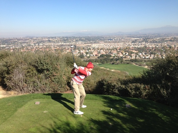 Had a fun day of golf out at the #Journey golf course with @erikbcastro. Can't beat the view of Temecula, CA on the signature hole.