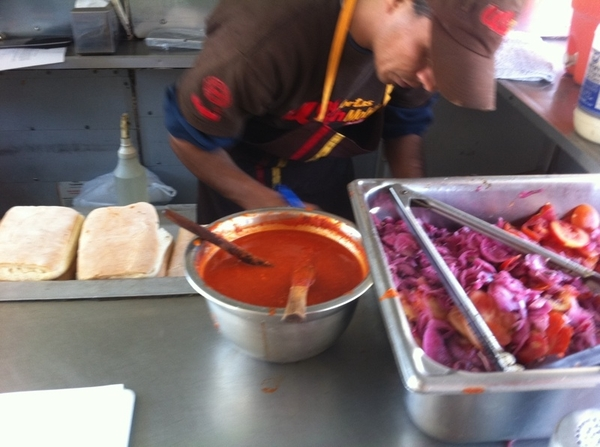 "Washmobile Tortas: cibatta-looking bread, grilled beef, ""gravy"" juices, pickled onion/tomato, arbol salsa"