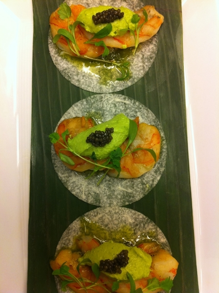 "Possible new dish for Frontera/Topolo: smoked shrimp ""jicama soft tacos"" w gr chile goat chs, Am paddlefish caviar"