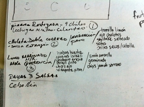 La Querencia: Chef Miguel Angel's whiteboard notes for the dish he made for our show together