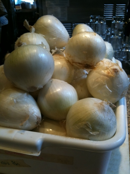 I just realized that we go thru 1300 pounds of white (not yellow!) onions every week on this corner of cClark St