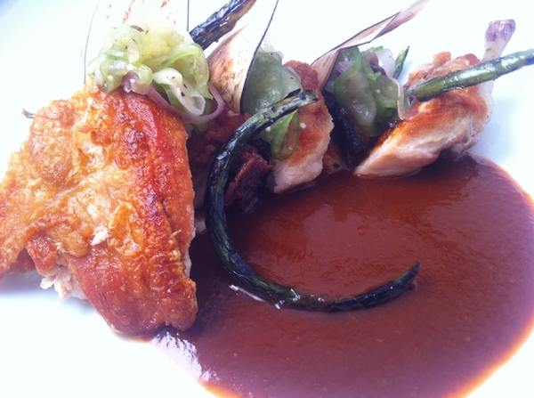 Baja Tasting Menu starts 2nite: Heritage breed rock hen, tamarind ancho sauce, grill-charred eggplant, tomatillo