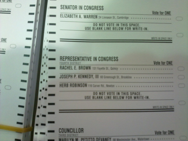 Dem ballot. Rachel Brown (LaRouche) vs Joe 'For Oil Jr. Jr.' Kennedy (Divine Right/Chavez) #tcot