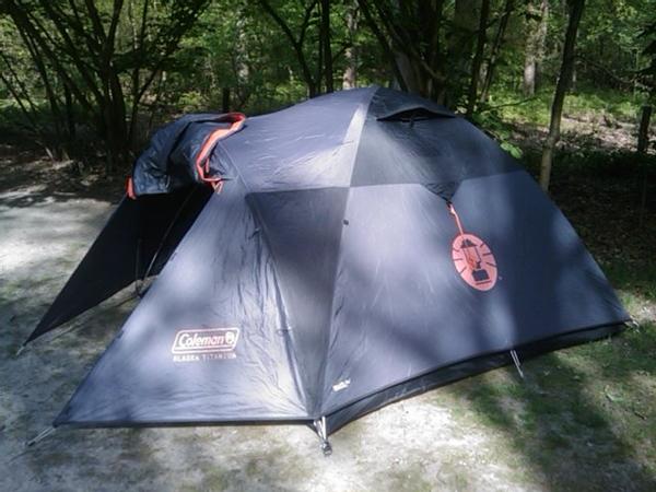 Op de camping in Apeldoorn (onze tent)