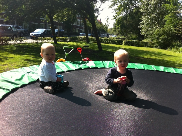 Fletcher of the day: with Saartje on the trampoline