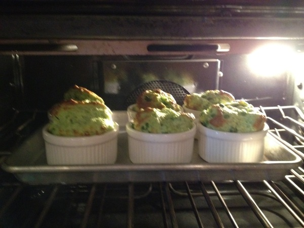 Made a wonderful summer dinner for friends: started w blue cheese souffle w 5 garden herbs, garlic chives, peas