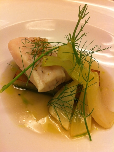 Poss new Topolo dish: slow poached red fish infused w acuyo, came hashbrowns, braised fennel, acuyo broth