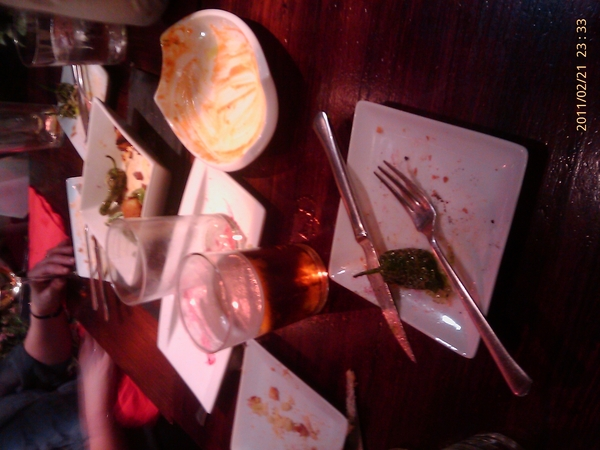Tapas plates empty. Good sign! How to keep going to match #Madrid natives into small hours after red eye this morning?