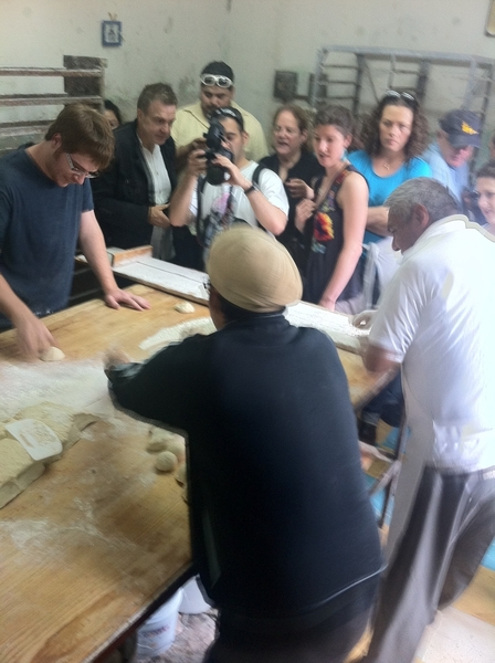Puebla artisanal Pan Coty: chefs Amado & Zack learning to form cemitas from Don Celestino