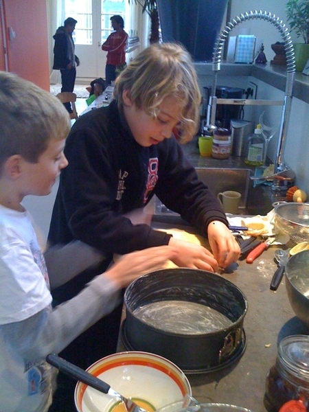 Boys working on apple pie -1-