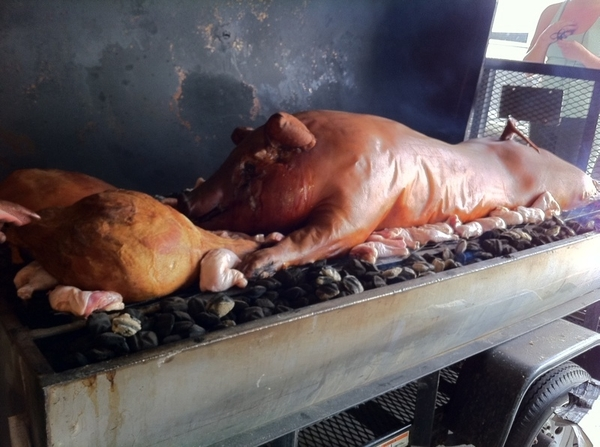 10th annual Frontera picnic at my house. Greg Gunthorp has been here since midnight roasting this Durock pig
