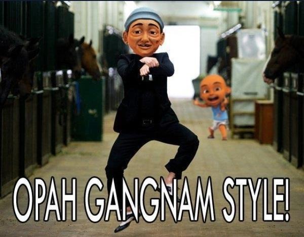 Haaaa ni baru betul. Opah Gangnam Style. LOL
