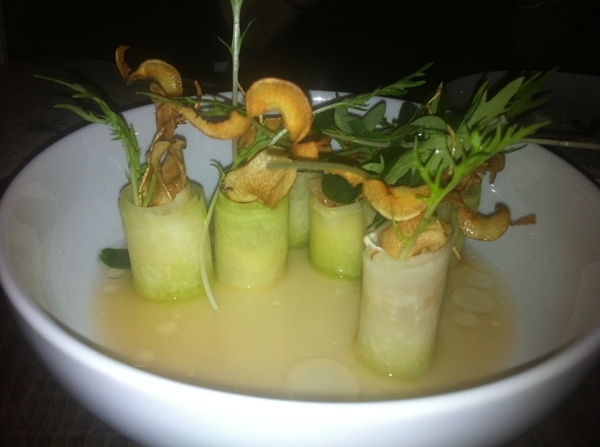 Remarkable meal @ Red Medicine in LA. Jordan Kahn has talent,unique vision. Kohlrabi,tofu cream,grapefruit,sunchk
