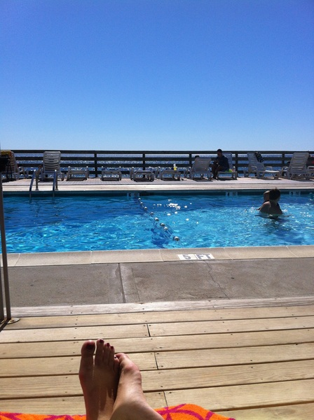 A few hours playing in the sand, now chillin at the pool