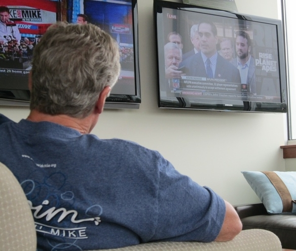 From his office this morning, @PeteCarroll watches the announcement of the end of the NFL lockout