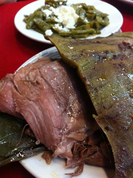 Arroyo: lamb barbacoa served in agave w nopales & salsa borracha (pasilla, garlic, pulque)