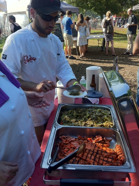 Green City Mkt BBQ: serving tacos of creamy Nichols Farm heirloom tatume squash,grld AK sockeye,rstd serrano salsa