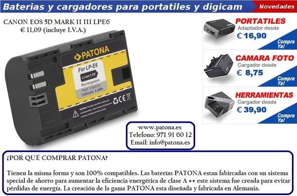 España basada CANON EOS 5D Mark II III LPE6 Batería