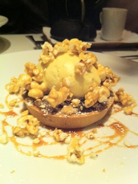 Great Frontera dessert: crmlzd apple tart (Seedling Orchard fruit) w brown butter-piloncillo ice cr & caramel corn